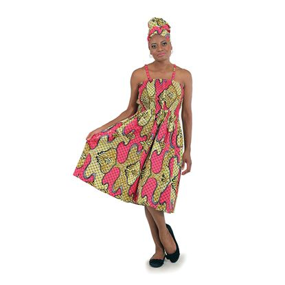 African Print Mom Dress: Pink/Yellow