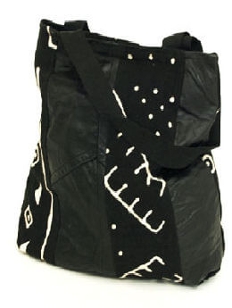Black Mud Cloth & Leatherette Design Bag
