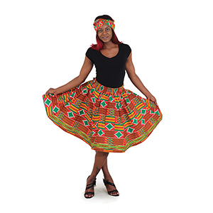 Kente Print Short Skirt