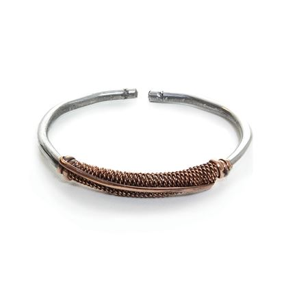 Silver & Copper Twist Metal Bracelet