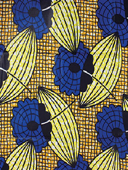 Blue/Yellow/Orange African Print Fabric