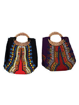 Traditional Print Wicker Handle Bag