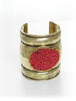 Golden Cuff w/Red Beads